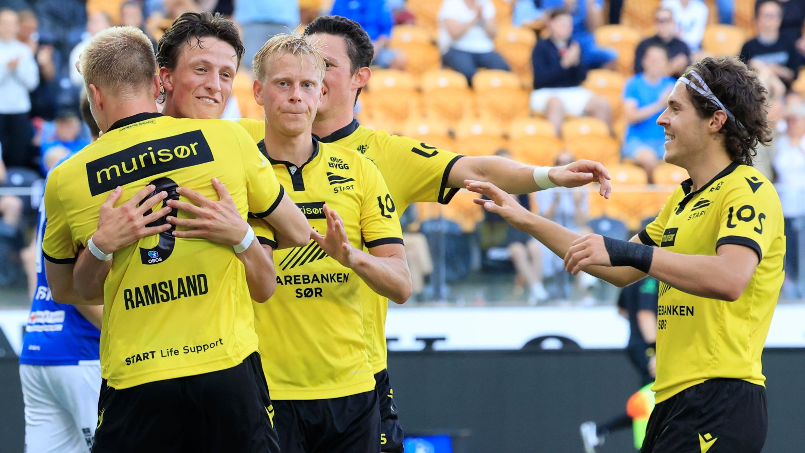 Martin Ramsland, Sander Sjøkvist, Eirik Schulze, Eman Markovic feirer scoring mot Stjørdals-Blink. Foto: Tor Erik Schrøder / NTB